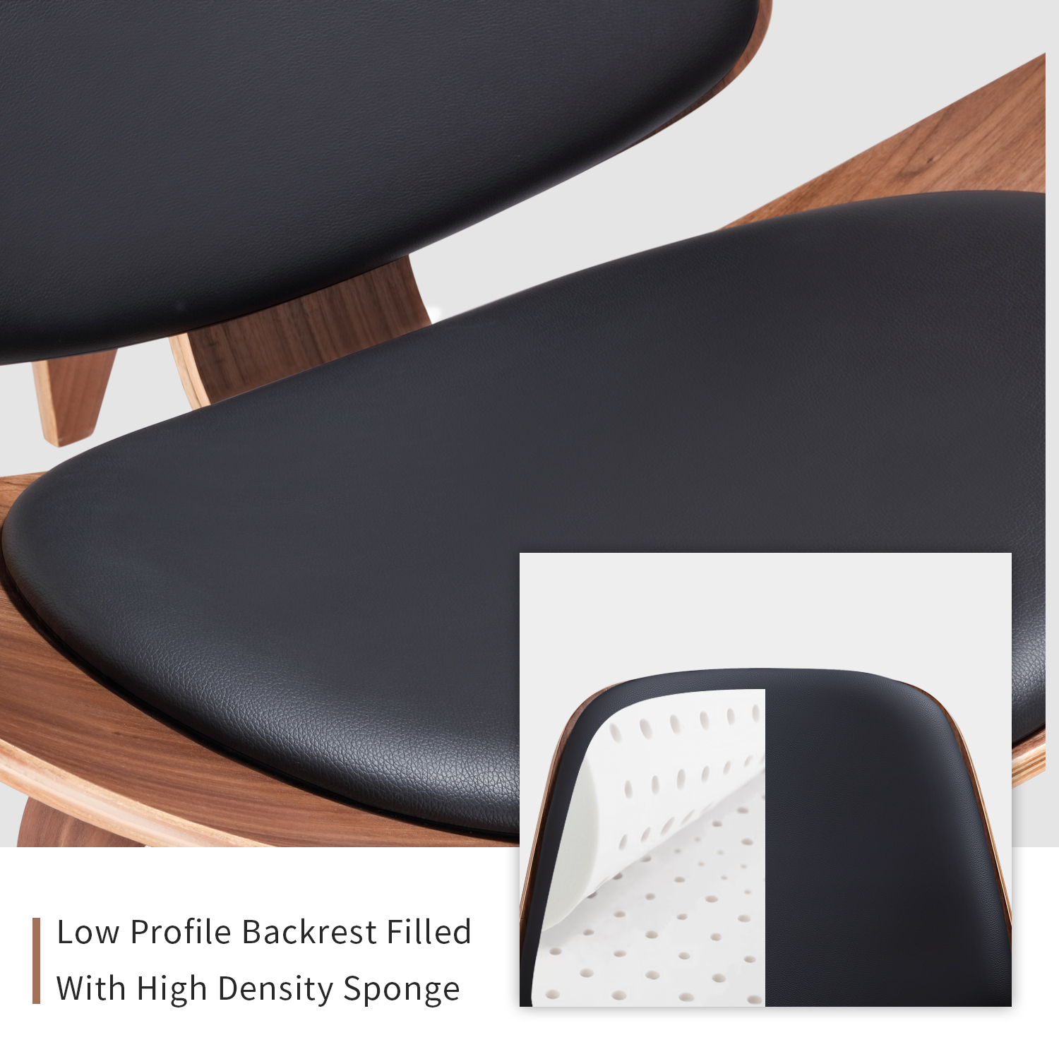 Furgle Mid Century Lounge Chair Replica Shell Chair Modern Tripod Plywood Lounge Chair 3 Wood Colors with Black Leather Chairs 5
