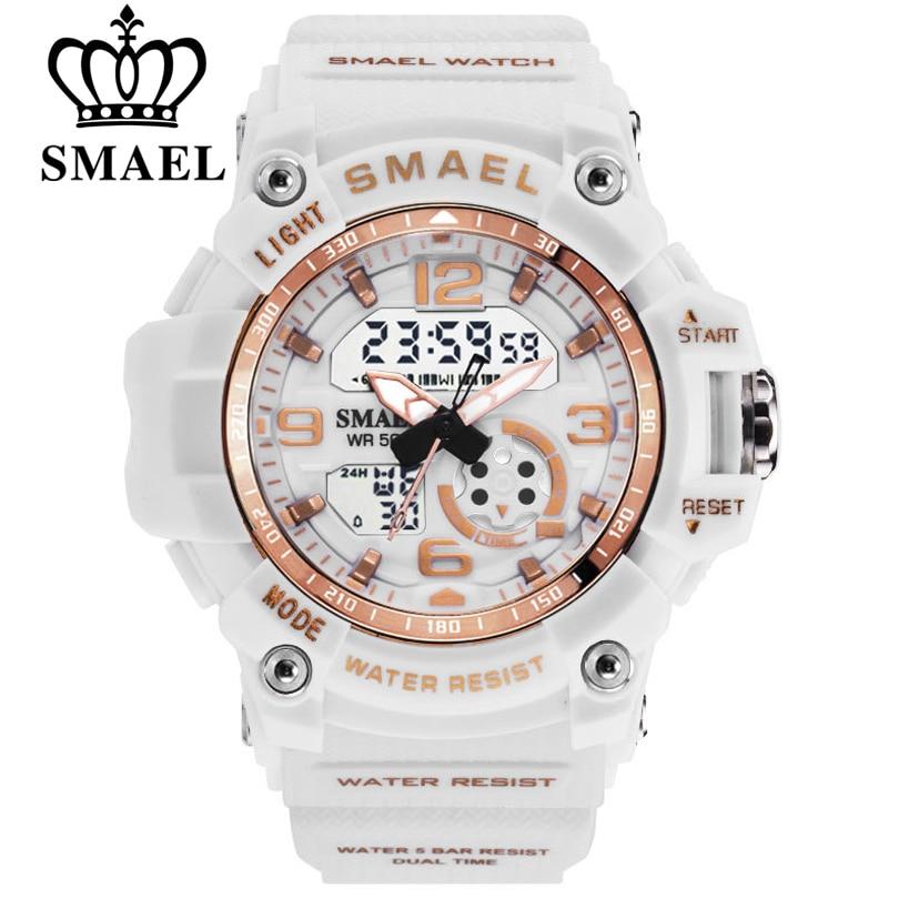 SMAEL Fashion Women Sport Watches Waterproof Ladies Student Multifunctional Wristwatch LED Digital Quartz White Watch Girl Clock