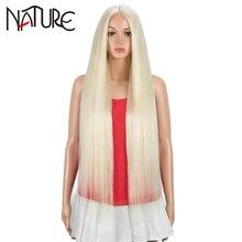 La naturaleza Cosplay del pelo pelucas para mujeres negras recta larga Peluca de pelo sintético 38 pulgadas americano africano marrón 613 falso Peluca de encaje de pelo