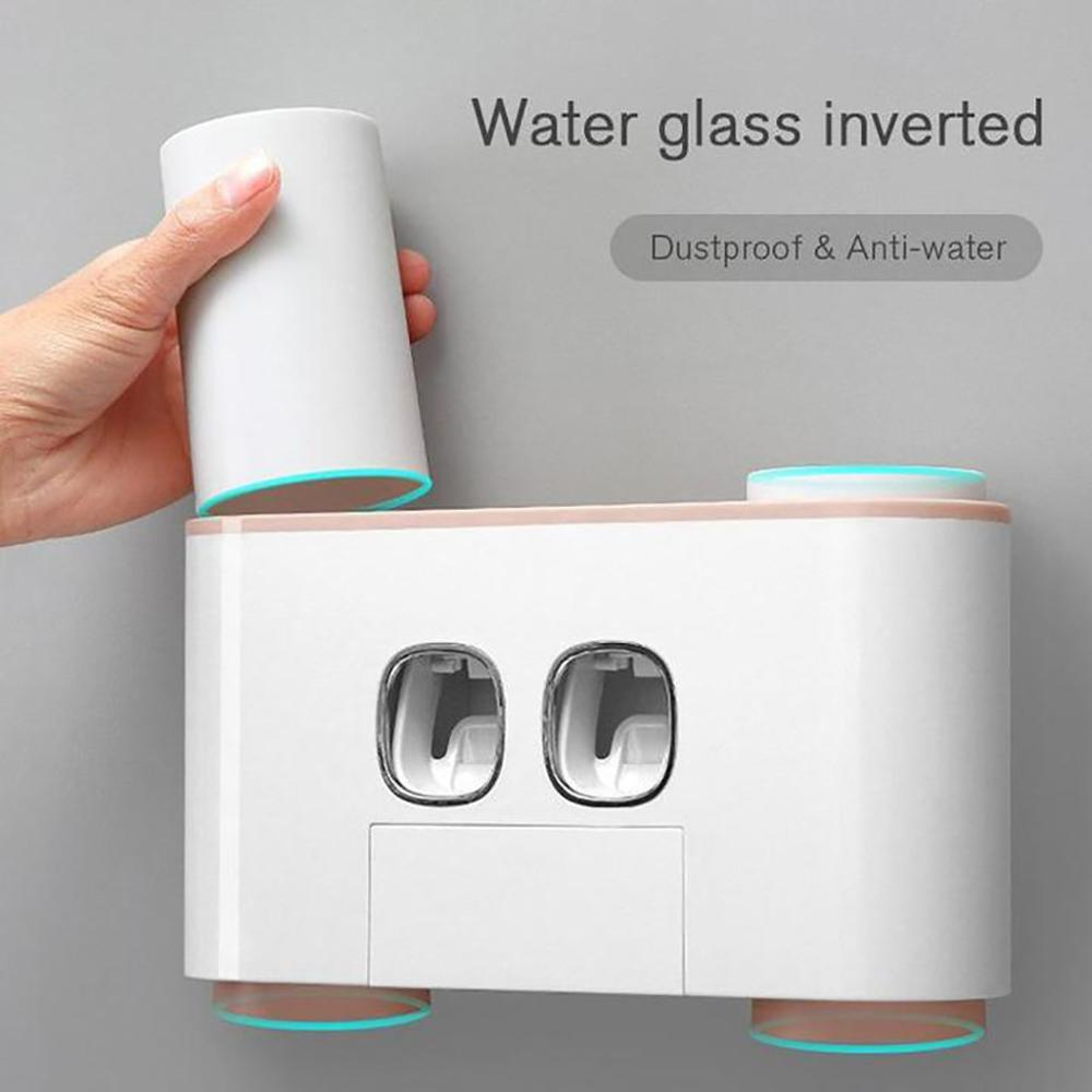 2019 Hot Selling Dropshipping White 2 Automatic Toothpaste Dispenser 5 Toothbrush Holder Set Wall Mount Stand D1
