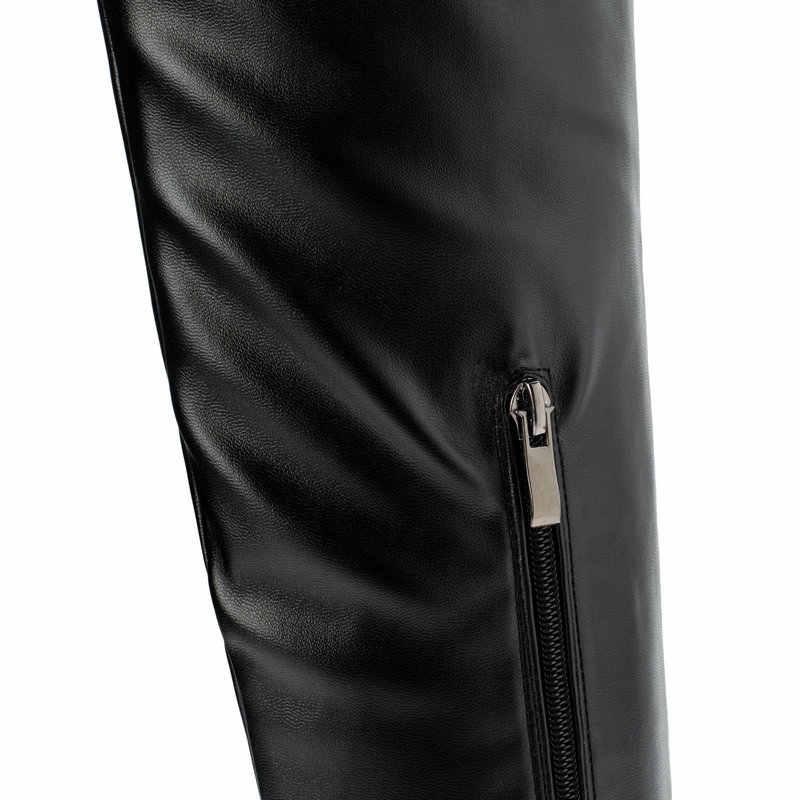 2019 moda diz yüksek çizmeler kadın kışlık botlar kare düşük topuk uzun çizmeler kare ayak fermuar sonbahar bayan botları siyah beyaz