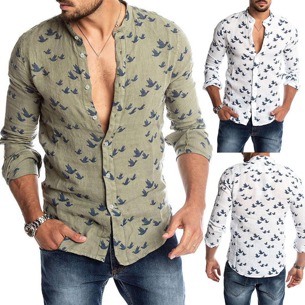 Spring Autumn Casual Men Pigeon Long Sleeved Printed Buttons Turn-Down Shirt Linen Slim Top Streetwear Autumn Fashion Shirts