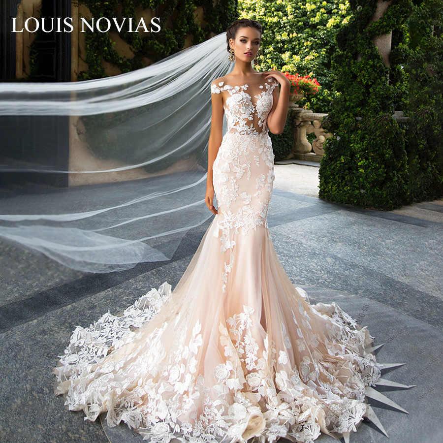 לואיס Novias 2020 חדש אופנה בת ים חתונת שמלות פרספקטיבה Slim הכתפיים דק ויפה חזרה אפליקציות משפט רכבת