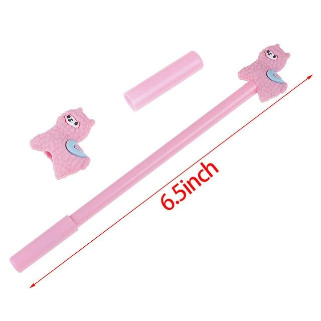 28 pièces dessin animé stylo lama mignon alpaga Gel stylo, 4 couleurs pour lécole fournitures de bureau enfants cadeaux, encre noire, 0.5Mm Point à bille
