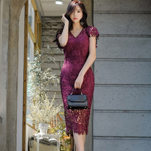 Image 2 - H Han Queen Sexy Hollow Out Lace Pencil Dress Women Autumn New V neck Sheath Bodycon Dresses Casual Evening Party Club Vestidos
