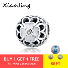 925 Sterling Silver flower Clip Charm With Clear CZ stone Beads Fit Original pandora bracelet beads DIY Jewelry Making for gift