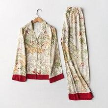 Spring New Casual Long Sleeve Satin Pajama Set Green Grass Printing Sleepwear Loungewear Women Turn down Collar Pijama Mujer