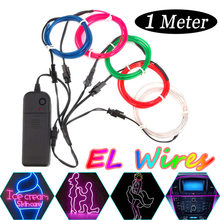 5pcs 1M Multicolor Glow EL Ribbon led Strips Light 3 Lighting Modes Wire Lights for Halloween Christmas DC 3V Batterys Powered(China)