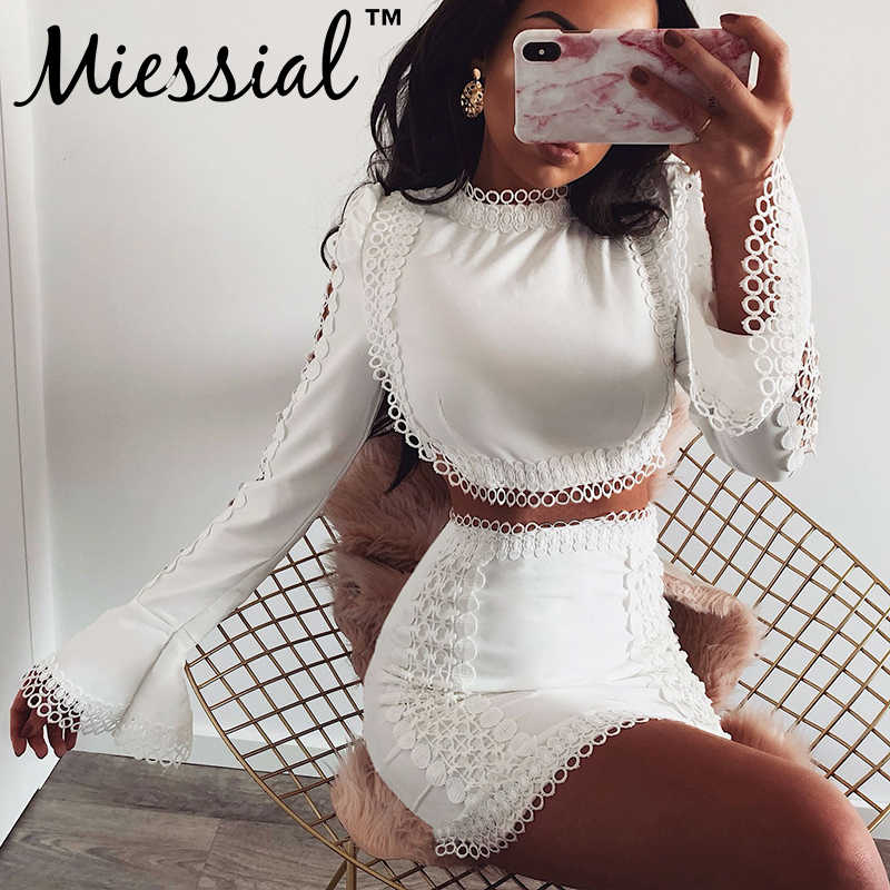 Miessial White lace bodycon sexy mini jurk Vrouwen twee stuk pak lange mouwen winter jurk Herfst elegante party night club jurk