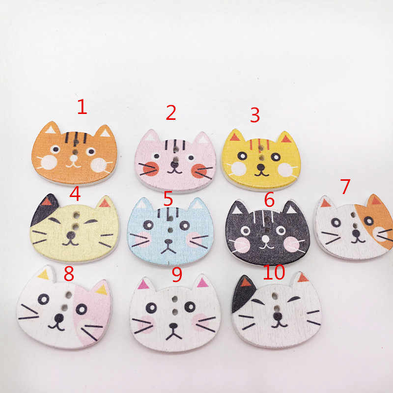 DIY Handmade Accessories Color Cat Head Painted Wood Buttons Mixed Color Diameter Party Decoration 25*20MM christmas buttons