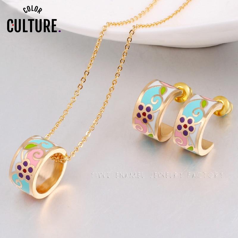 Guldfärgade halsband Kvinnor Blommor set fylld design emalj smycken - Märkessmycken