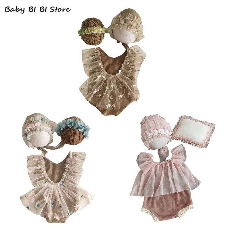 4Pcs Newborn Photography Props Suit Lace Romper Hat Pillow Headband Set Outfits