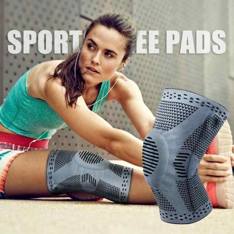 1 ピース膝蓋骨膝プロテクターブレースシリコーン春膝パッドバスケットボールニット圧縮弾性膝サポートスポーツ