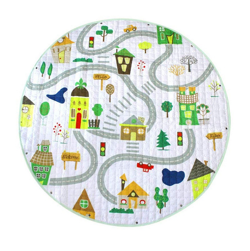 Baby Play Mat,Round Baby Nursery Rugs And Portable Toy Organizer Storage Toys Storage Bag,Soft Washable Crawling Mat With Drawst