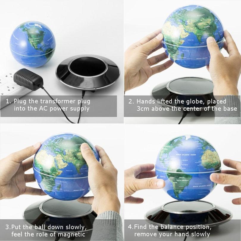 СВЕТОДИОДНЫЙ плавающий теллурий Глобус Ночной свет магнитной левитации антигравитационный карта мира для детей подарок офисный книжный шкаф Спальня домашний декор - 5