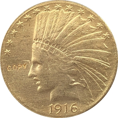 24- K gold plated 1916-S Indian head $10 gold coin COPY