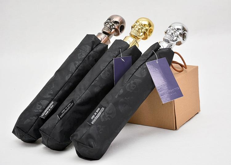 Heng Li Skull Three-fold Umbrella Automatic Folding Umbrella Cool UV-Protection College Style Gift Umbrella Factory Straight