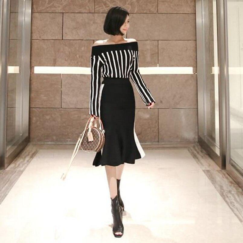 WOMEN'S Dress 2018 Autumn Debutante Elegant Horizontal Neck Stripes Sweater + Sheath Flounced Skirt Two-Piece Set