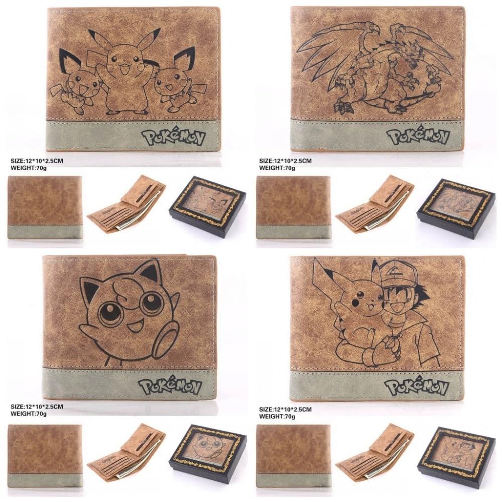 Anime Pokemon Pikachu Jigglypuff leather short wallet cartoon Bifold money bag pu purse Card Photo Holders cosplay khaki Handbag