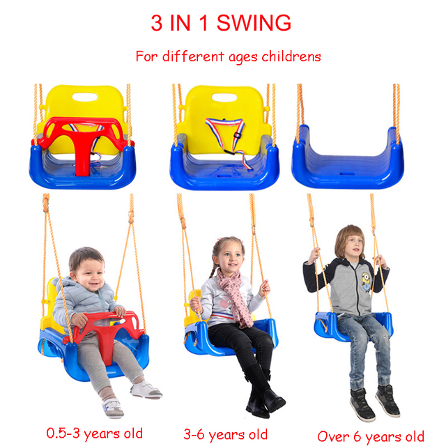 3 in 1 Kids Swing Toys Anti-skid Hanging Swing Chair Sport ItemToys for Children Baby Swings Set Indoor Outdoor Toys Trapeze 2