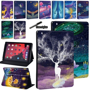 Tablet Case For Apple IPad 5/6/7/8th / Mini 1/2/3/4/5 / Ipad 2/3/4 Print Pattern PU Leather Shockproof Tablet Stand Cover+Stylus for ipad 2 3 4 5 6 7 air 1 2 3 pro 11 2018 2020 pu leather tablet stand folio cover ultra thin star colors slim case