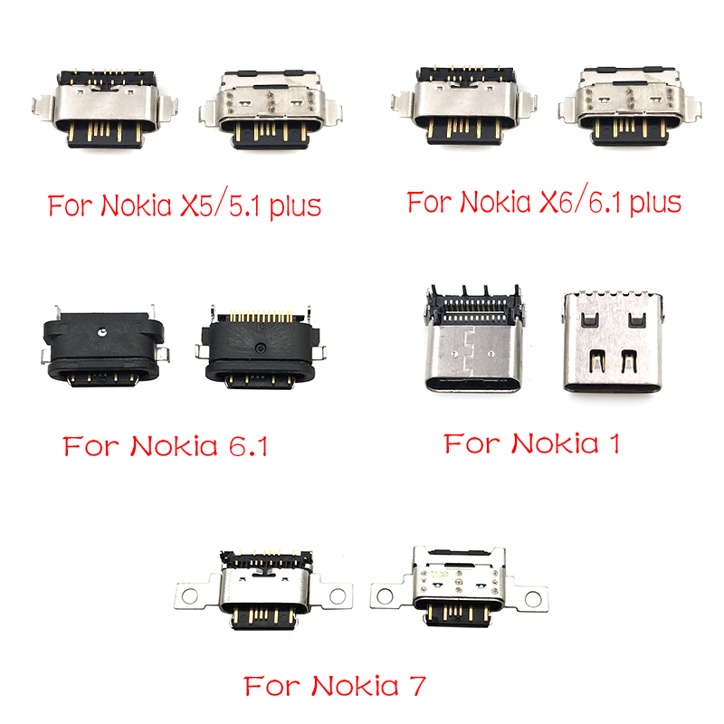 2 Pcs/lot New Micro Usb Connector Charging Port For Nokia 3 6 7 Plus 8 6.1 7.1 5.1 Plus X5 X6 X7 Replacement Parts