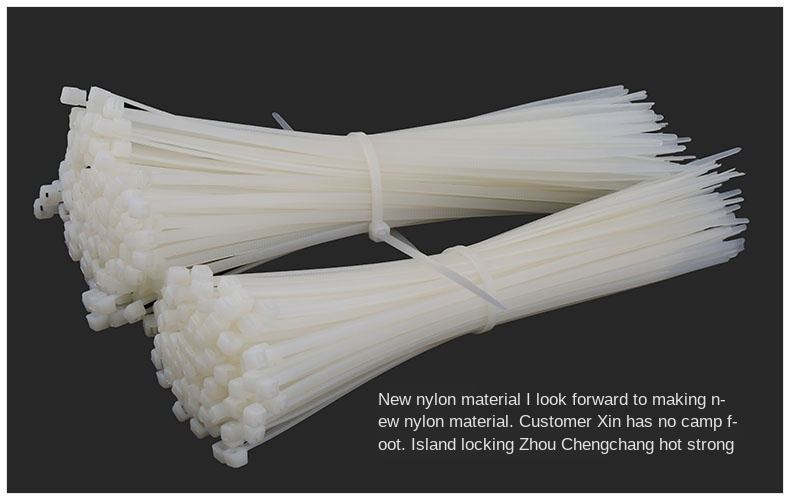 Self-locking Cable Tie 4*200mm Large Strapping Plastic Snap Fastener Strap Cord White/black 50PCS