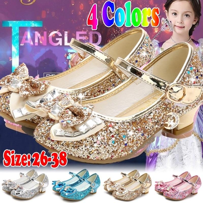 Детская кожаная обувь принцессы для девочек, повседневная блестящая детская обувь на высоком каблуке с бантом-бабочкой, синий, розовый, сер...