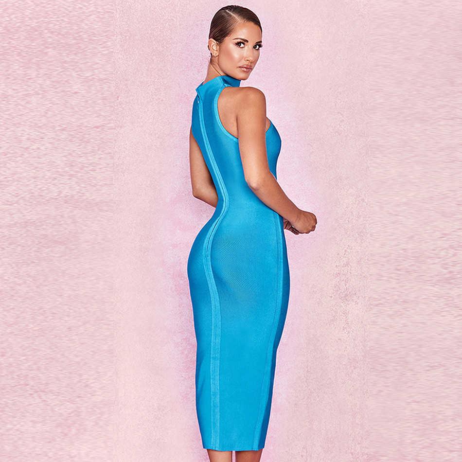 2019 jesień nowy kobiety midi bandaża sukni Bodycon Vestidos sexy niebieski bez rękawów sukienka klub suknie wieczorowe w stylu gwiazd