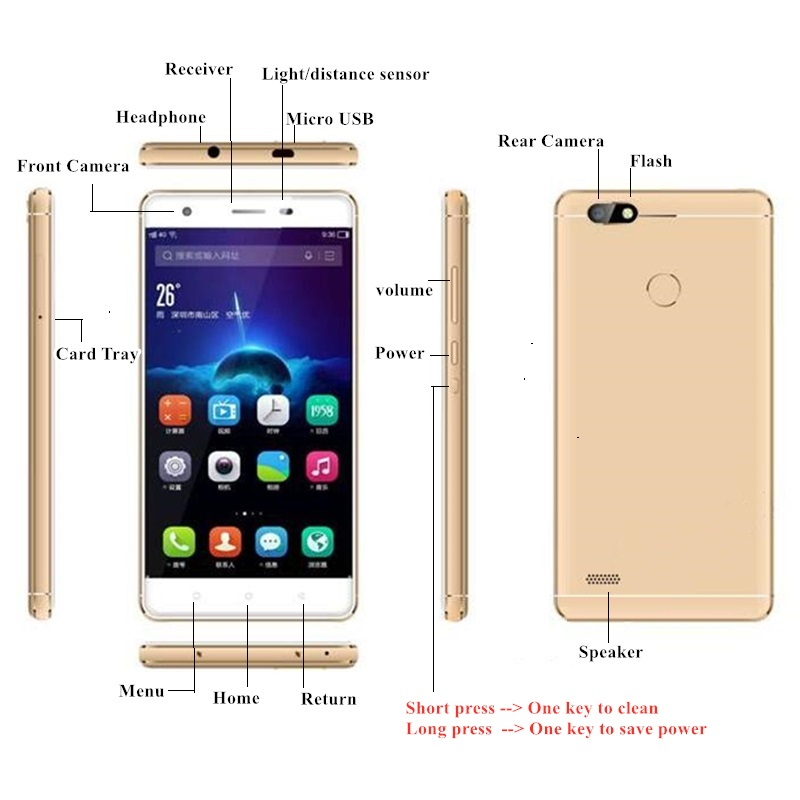 S07 4G LTE Smart Cellphone Dual SIM Cards 2GB+16GB Android 6.0 MTK6737Quad-Core 5 Inch 720x1280 pixels Capacitive screen