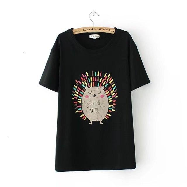 4XL grande taille Cato court Mouwen femmes t-shirt col rond t-shirt Egel imprime haut pour femme t-shirt été thé chemise femme