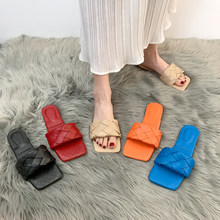 Lucyever 2021 New Fashion Weaving Summer Slippers Women Casual Open Toe Flat Sandals Woman Comfortable Beach Slides flip flops