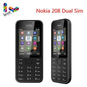 Used Nokia 208 Dual Sim Version Phone, NO Hebrew, GSM Unlocked Mobile Phone