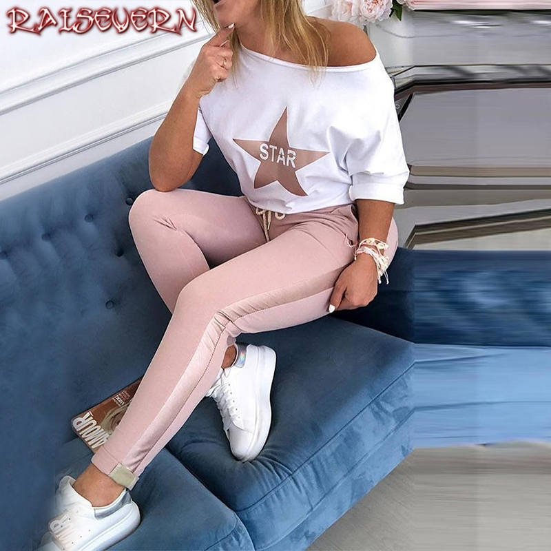 2020 Casual Women Two Piece Set Harajuku Fashion Letter Print Top And Pants Female Clothing Sets Autumn Winter Outfits