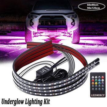 4pcs LED Car Light Strip Neon Universal Car RGB LED Strip Waterproof Under Car Tube Strip Underglow Body Wireless Remote Control