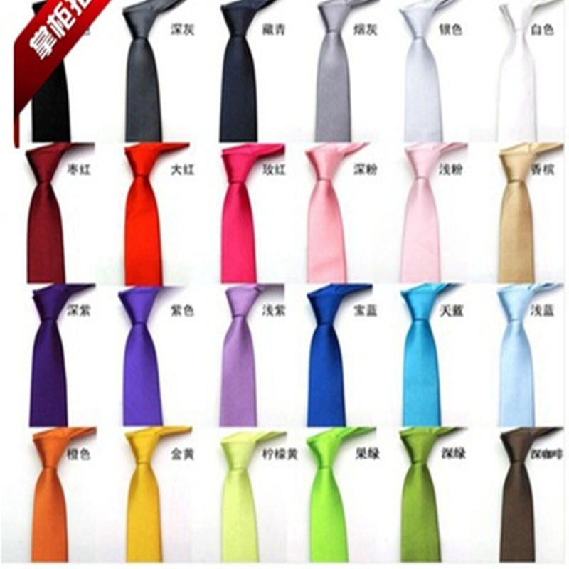 5 Cm 24colors In Stock Mens Regular Sized Neck Ties Imitate Silk Solid Color Plain Wedding Necktie Lenth Free Shipping