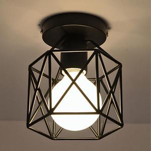Industrial Ceiling Lamp Shape Square Diamond Iron Chandelier Pendant Light Fixture For Hallway Entrance Aisle Porch Without Lamp