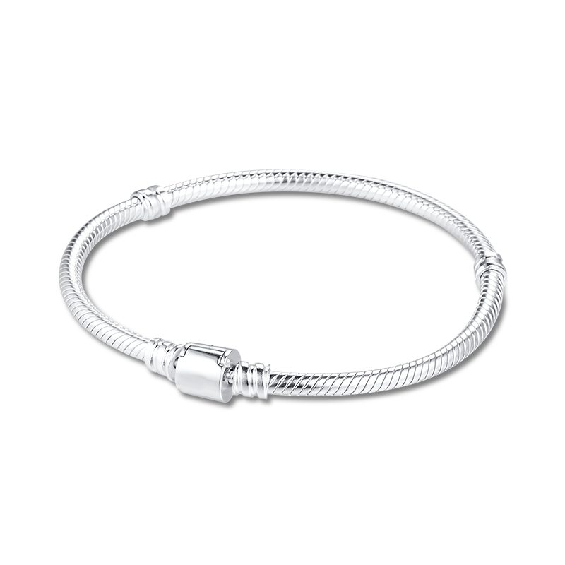 CKK Silver 925 Jewelry Moments Barrel Clasp Snake Chain Bracelet Sterling Silver Original Bracelet