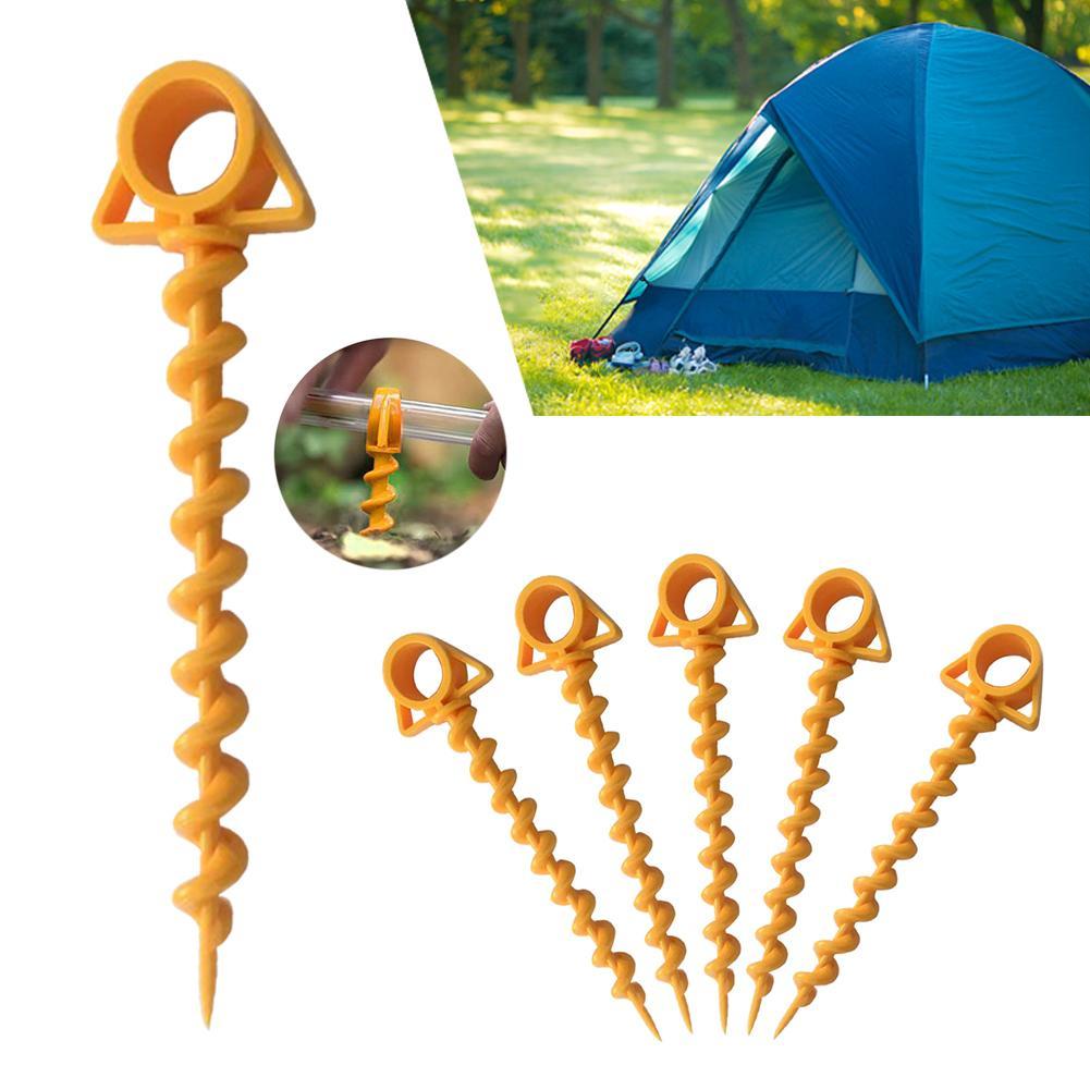 5 PCS Ultimative Boden Anker Orange Schraube spirale Sport zubehör wandern camping zelt peg Nägel peg reise Zelt Reise nagel kit