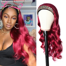 LQ волос 99J бордовый Цвет объемная волна волос парик человеческих волос парик с головной повязкой манекен для шарфа парика бразильский Реми ...