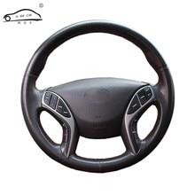 Tresse de volant de voiture en cuir artificiel, housse de volant sur mesure pour Hyundai Elantra 2011 – 2016 Avante i30 2012 – 2016