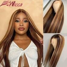 Destaque loira perucas de cabelo humano brasileiro remy cabelo pré arrancado 13*6 frente do laço perucas de cabelo humano colorido destaque perucas do laço