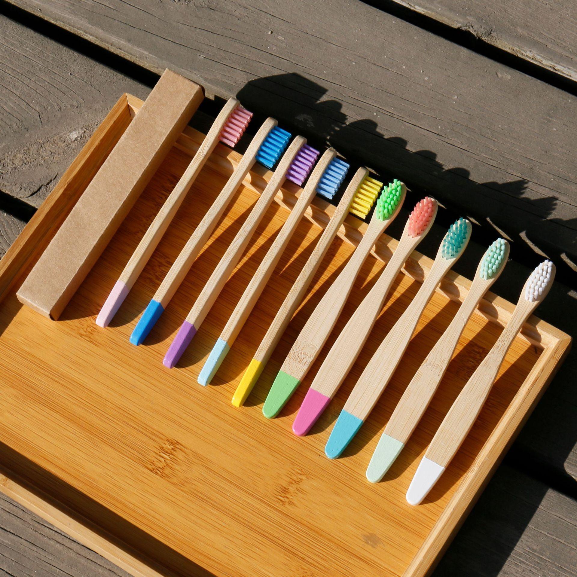 10 pces bambu escova de dentes cor pintura zero residuos eco amigavel produtos grande punho para