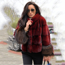 TOPFUR 2019 Fashion Wine Red Coat Women Short Jacket Real Fur With Collar Natural Mink Full Sleeves Fox