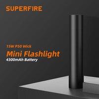 SupFire-linterna LED S11 Cree xhp50, potente, recargable vía USB, portátil para iluminación nocturna, 15W