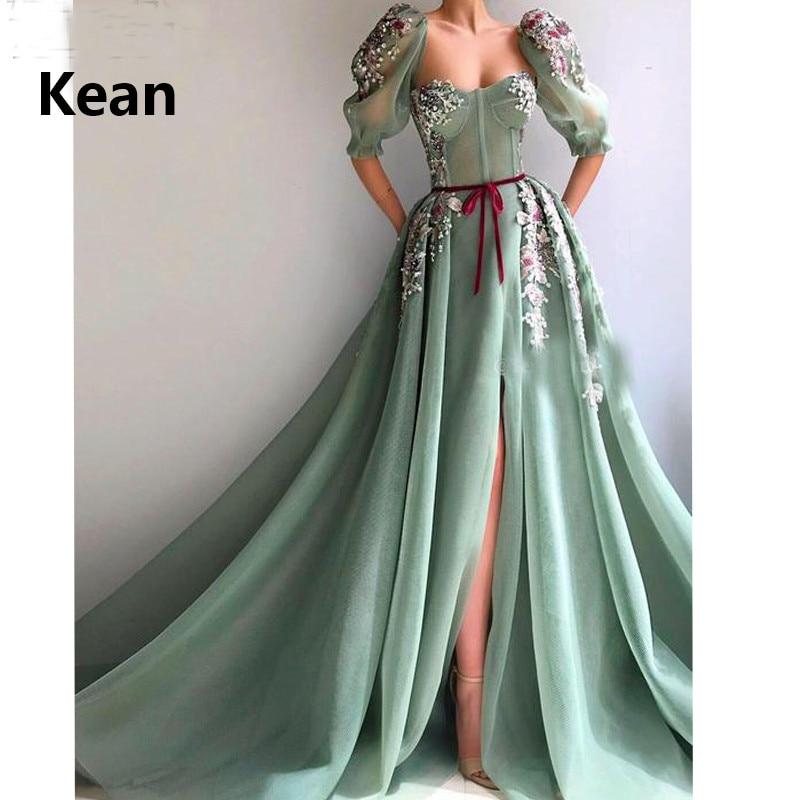Mint Green Muslim Evening Dress Half Sleeve Split Lace Flower Illusion Islamic Dubai Kaftan Saudi Arabic Prom Dress New Arrival