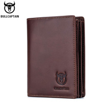 BULLCAPTAIN new RFID mens leather wallet short vertical locomotive British leisure multi function card package leather wallet