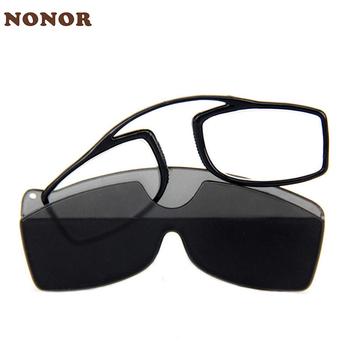 NONOR Mini lepkie okulary do czytania zacisk na nos na okulary do czytania powiększające okulary do czytania dla mężczyzn kobiety czarne z etui tanie i dobre opinie WOMEN Unisex Jasne CN (pochodzenie) Lustro N-R16RP003 2 7cm Z poliwęglanu 4 37cm Z tworzywa sztucznego +100 +150 +200 +250 +300