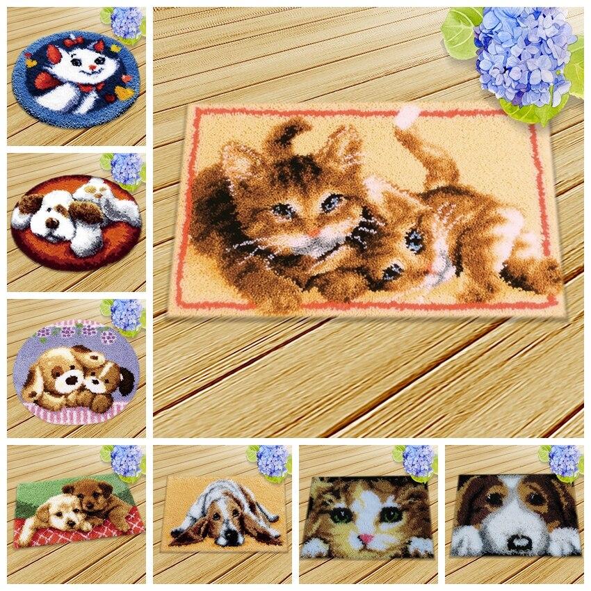Cat And Dog Latch Hook Cushion Knooppakket Tapijt 3D Smyrna Animal Series DIY Rug Kits Package Kit