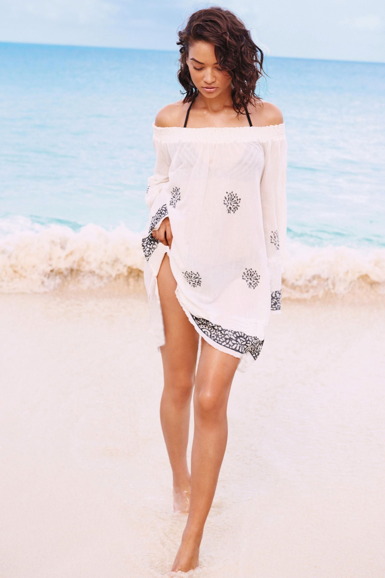 Europe And America Cotton Gray Embroidery Horizontal Neck Elastic Band Beach Skirt Long Sleeve Holiday Skirt Bikini Outer Blouse